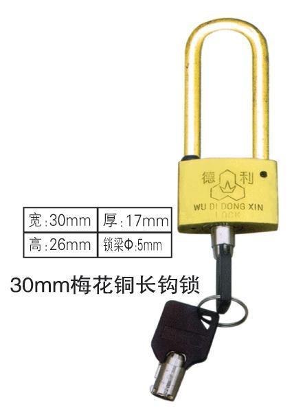 廠家供應優質30mm梅花長鉤掛鎖,農網改造專用長鉤電力表箱鎖,一把鑰匙通用長鉤鎖